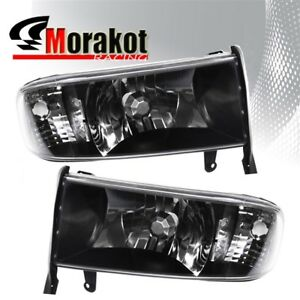 For 94 01 Dodge Ram 1 Piece Crystal Black Headlights Clear Corner Reflector Lamp
