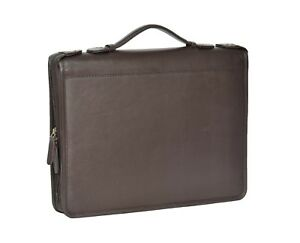 Real Leather Document Conference Bag A4 Folder Folio Case Grab Handle Brown New