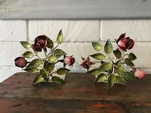 Vintage Italian Tole Pink Roses Bookends A Pair