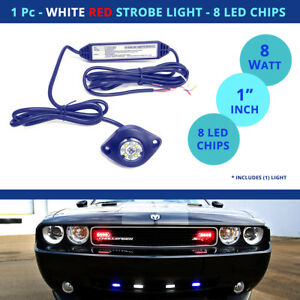 1 Pc Led Strobe Light Hideaway Red White Flash Car Truck 8 Chip