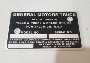 Gmc Yellow Truck Coach Id Identification Plate All Sizes 1939 1946 Stamped