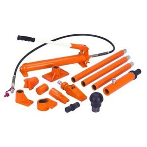 10 Ton Hydraulic Air Pump Lift Porta Power Ram Body Shop Repair Tool Set Kit