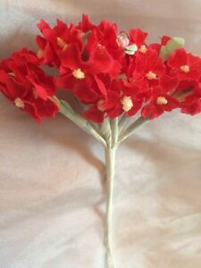 Vintage Bridal Red Dolls Veil Hats Christmas Holiday Millinery Flowers Per 1