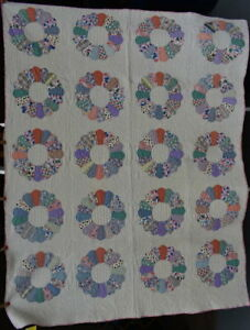 Antique Quilt Dresden Plate Signed Dated In The Quilting Dlh 1931 18148