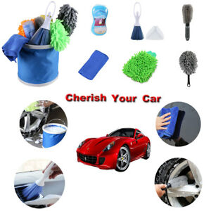 Car Wash Cleaning Tool Kit 9 Pieces Combination Tools Bucket Brush Towel Foam