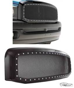 For 2006 2008 Dodge Ram 1500 Front Rivet Black Stainless Steel Wire Mesh Grille