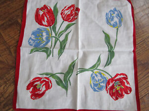 Vtg Red Blue Tulips Hankie Hankerchief 100 Cotton 13 Sq