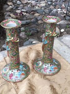 Antique Chinese Rose Medallion Candlesticks With Dragons