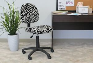 Zebra Office Rolling Chair Comfortable Adjustable Seat Indoor Computer Desk New