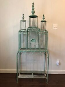 Antique Tole Birdcage On Stand