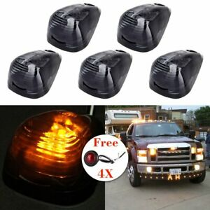 5x Smoke Cab Marker Roof Light Assembly Amber Led For 99 16 Ford Free Lights