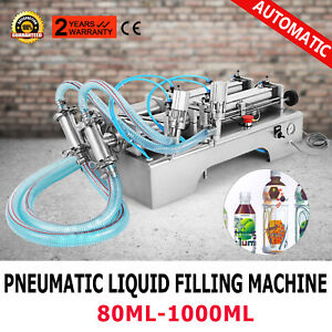 Two Heads Pneumatic Liquid Filling Machine 100 1000ml Silica Gel Control Rotary
