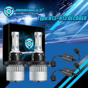 H13 9008 255000lm Led Headlight Bulb Kits 6000k Hi lo Dual Beam Canbus Decoder