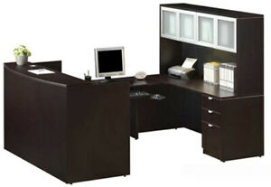 New U shape Reception Desk W Hutch Free Shipping Financing Available