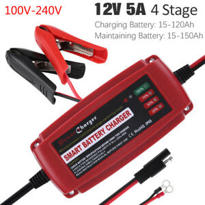 12v 5a Battery Charger Maintainer Trickle Charger For Car Boat L