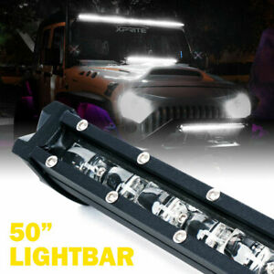 Xprite Ultra Thin 50 C6 240w Single Row Cree Led Flood Work Light Bar Offroad