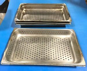 Lot Of 5 Full Size Perforated Stainless Steel Steam Table Pans Jr 2 1 2 Deep