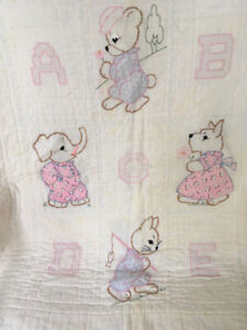 Antique Abc Crib Quilt Handmade Appliqued Embroidered Hand Quilted 15356