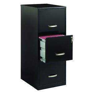 Three Drawer Filing Cabinet 3 drawer Vertical File Steel Black Lock Locking Home