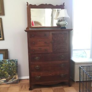 Vintage Wood Dresser With Mirror And Ornate Carved Cabinet Door