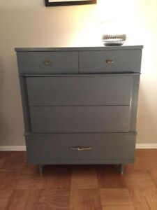 Blue Gray Painted Mid Century Modern Painted Dixie Dresser