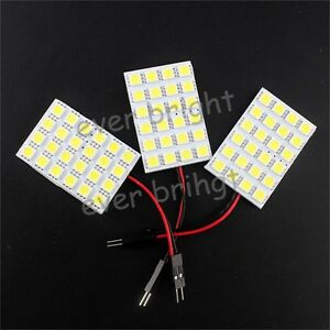 200x Festoon Spring T10 Ba9s 5050 24smd Led Panel Interior Dome Map Light Bulb