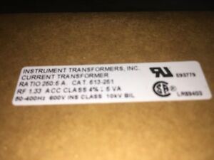 Instrument Transformers Current Transformer Ratio 250 5a Cat 613 251 Rf1 33 New