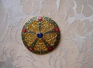 Large Antique French Enamel Champleve Button Diameter 1 417 Inch