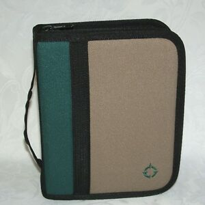 Franklin Covey Green Tan Brown Canvas Compact Sport Planner Binder 1 Ring Pages