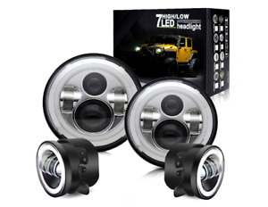 2007 2018 Jeep Wrangler Jk Halo Led Headlight Halo Led Drl Fog Light Combo Kit
