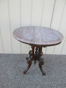 52683 Antique Eastlake Victorian Marble Top Oval Pedestal Table