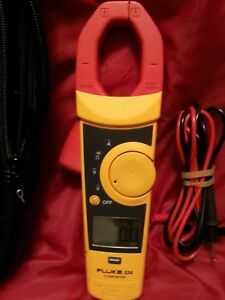 Clean Fluke 334 Clamp On Meter With Fluke Leads And Case