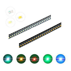 100pcs 5colors 0603 1008 Smd Smt Led Diodes White Red Blue Mix Kit Lamp Lights