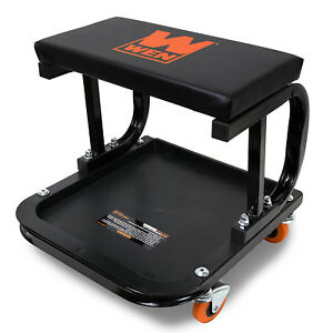 Rolling Mechanic Creeper Seat Garage Work Shop Stool Cart Tray Onboard Storage