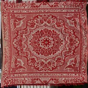 Antique Woven Jacquard Coverlet In Red And Beige 18054