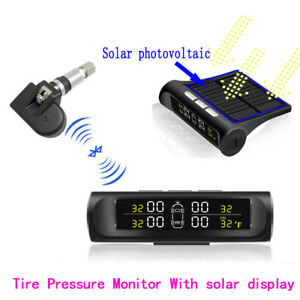 Solar Power Tpms Bluetooth Car Tyre Pressure Monitoring Alarm System Lcd Display