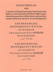 New Letterpress Type 12pt Goudy Old Style Bold Complete Font