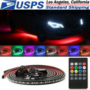 Led Undercar Underbody Underglow Kit Neon Strip Under Car Body Glow Light Remote