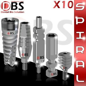 10x Dental Implant Set Spiral St Abutment Healing Cap Analog Transfer
