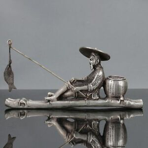 Old Chinese Tibet Silver Hand Carved Fisherman His Bamboo Raft Statue