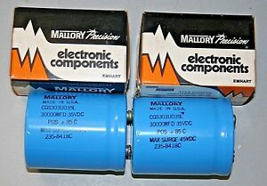 2 New Mallory 30000uf 35v Large Can Screw Top Capacitors cgs303uo35l 235 8418c
