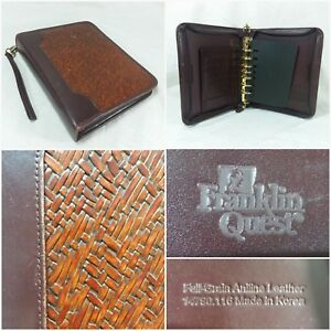 Vtg Franklin Quest 7 Ring Binder Planner Full grain Aniline Leather Woven Zip Up
