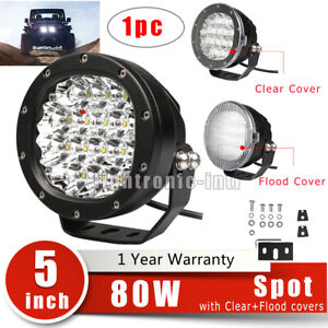 5 Inch 80w Led Work Light Spot Round Driving Fog Lamp Offroad Atv 4wd Cover