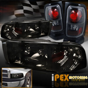 For 94 01 Dodge Ram 1500 2500 3500 Shiny Smoked Headlights With Black Tail Light