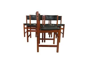 Danish Modern Brdr A S Leather Teak Dining Chairs Made In Denmark