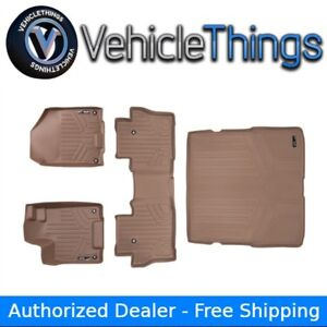 All Weather Floor Mats Set 2 Rows And Cargo Liner Bundle For Pilot 2016 2018 Tan