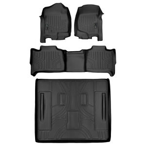 All Weather Floor Mats Set 2 Row Set And Cargo Liner For Tahoe Yukon Black