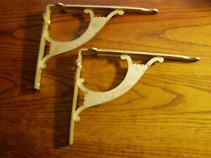 2 Vtg Old Industrial Steel Matching Shelf Brackets 7 X 9