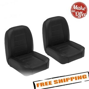 Smittybilt 44801 Seats Front Low Back Bucket Vinyl 1955 1976 Jeep Cj Pair