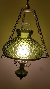 Vintage Electrified Oil Lamp Chandelier Clear Green Glass And Brass Mid Century